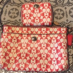 Matching crossbody bag and wallet. Authentic Coach